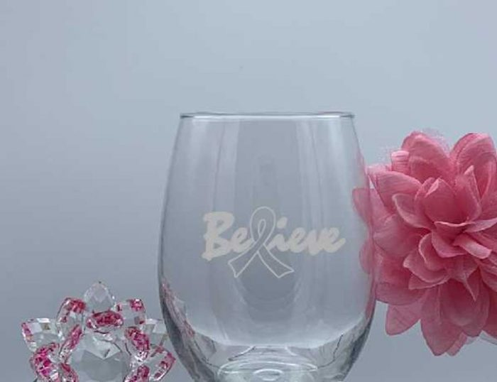 stemless wine glass breast cancer
